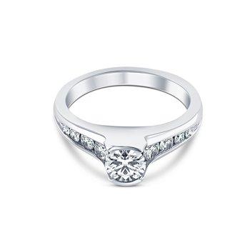 Accent Diamond Semi-Mount Engagement Ring