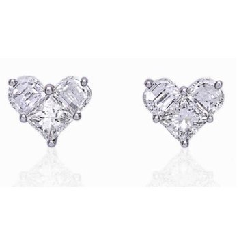 1.03 carat Lady Heart Collection Diamond Stud Earrings, in 18kt White Gold