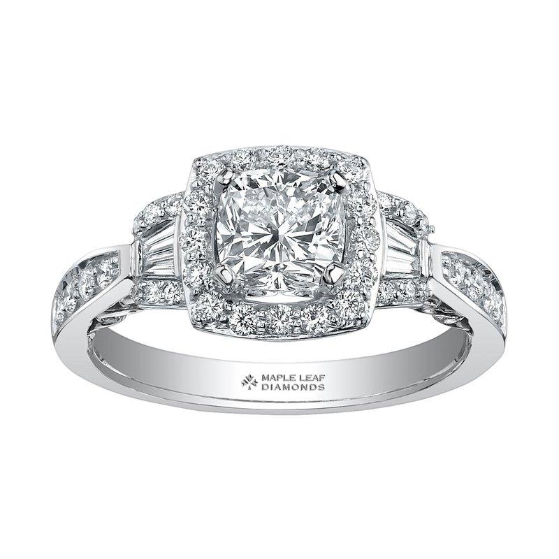 Ashley 18K White Gold Halo Diamond Engagement Ring