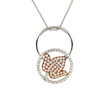 Diamond Flower Necklace and Ring In One