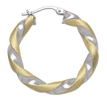 Two-Tone Twist Hoop Earrings