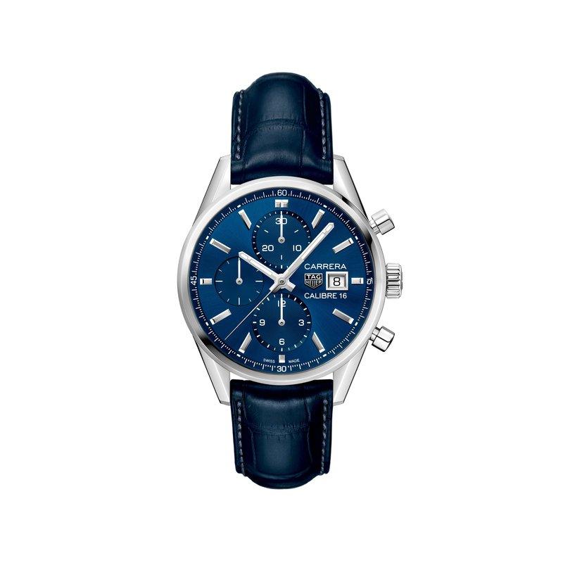 TAG Heuer Carrera 41mm Calibre 16 automatic chronograph Blue dial, blue alligator strap