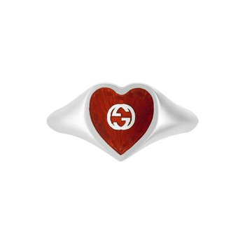 HEART 925 STERLING SILVER AND RED ENAMEL SIGNET RING