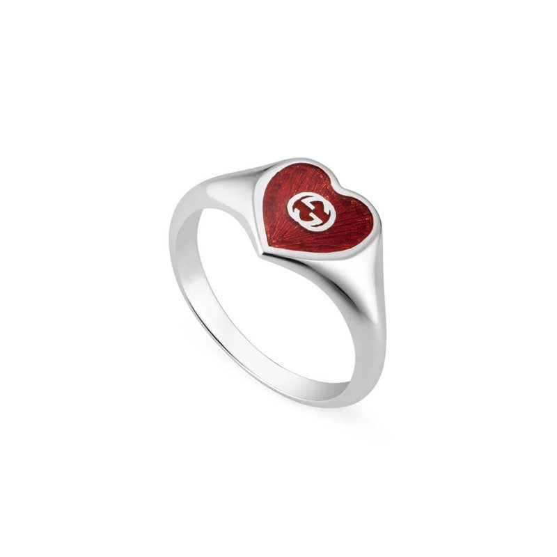 Gucci HEART 925 STERLING SILVER AND RED ENAMEL SIGNET RING