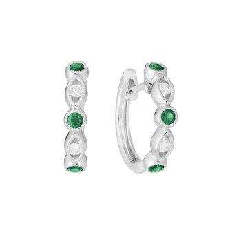 Huggie Emerald & Diamond Earrings
