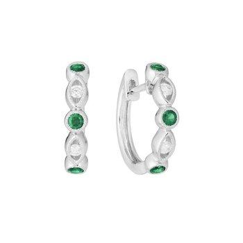 Huggie Emerald & Diamond Earrings