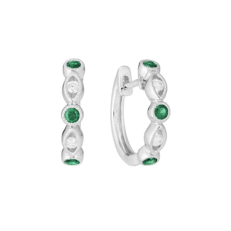 Ashley Huggie Emerald & Diamond Earrings