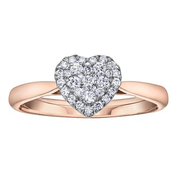 Rose and White Gold Diamond Set Heart Ring
