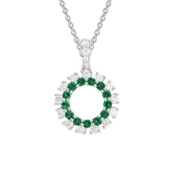 Emerald & Diamond Circle Necklace
