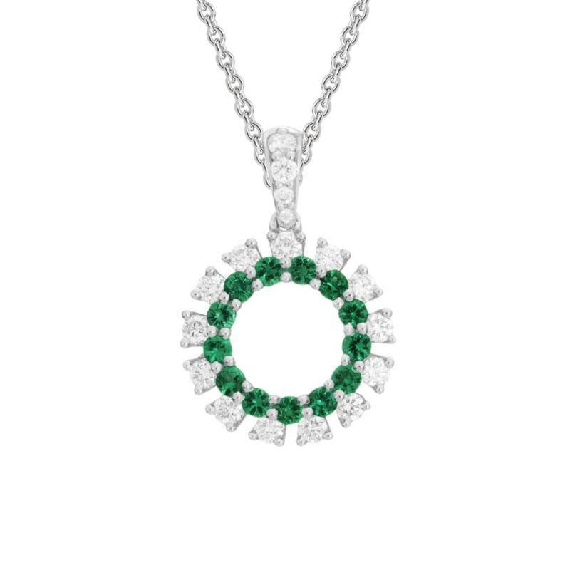 Ashley Emerald & Diamond Circle Necklace