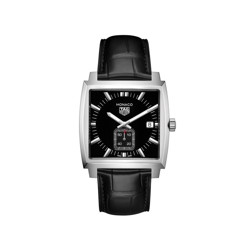 TAG Heuer Monaco 37mm Quartz watch, black dial, black alligator strap