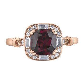 Rhodolite Garnet & Diamond Ring