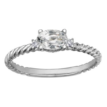 White Topaz & Diamond Ring