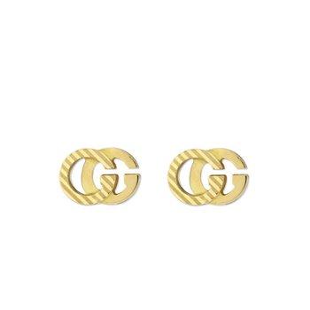 Running GG Diagonal Motif Earrings, 18 Karat Yellow Gold, YBD652219001