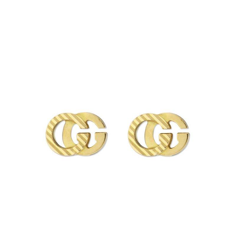 Gucci Running GG Diagonal Motif Earrings, 18 Karat Yellow Gold, YBD652219001