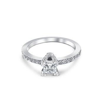 18k White Gold Baguette Cut Diamond Engagement Ring