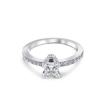 18k White Gold Baguette Cut Diamond Engagement Ring