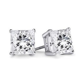.62 carat (total weight) Princess Cut Stud Earrings