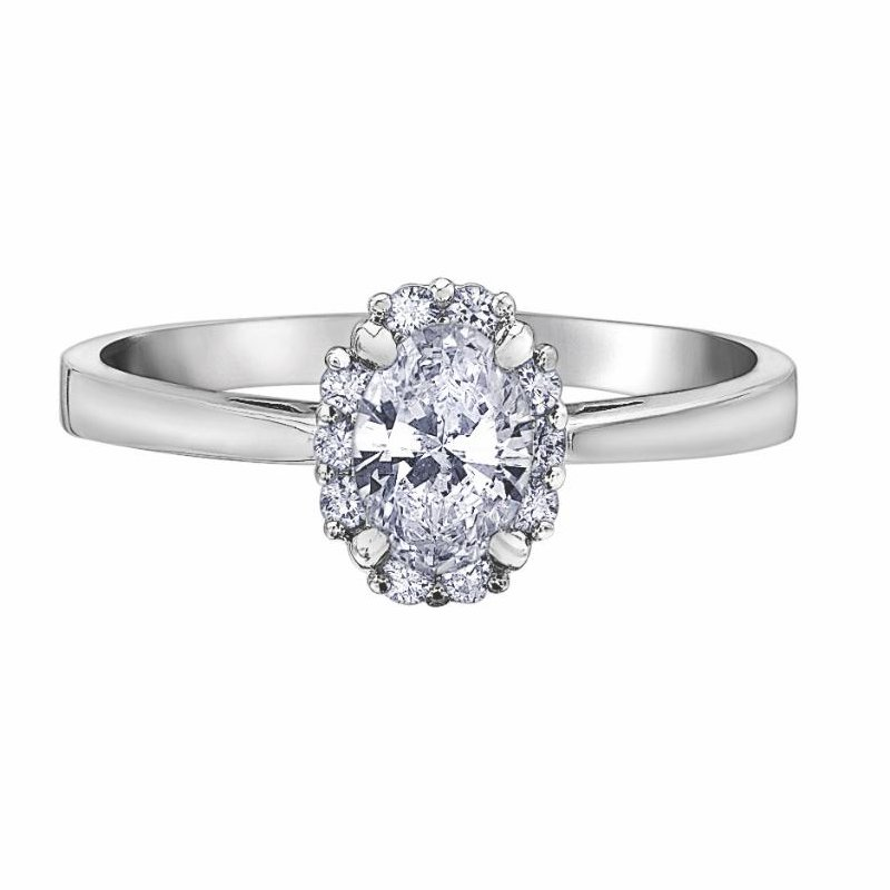 Ashley Halo Engagement Ring With Oval Cut Diamond.