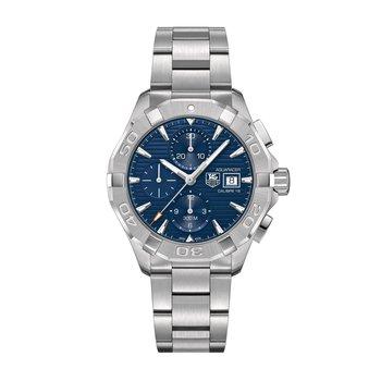 Aquaracer Calibre 16 automatic chronograph 43mm Blue dial, bracelet