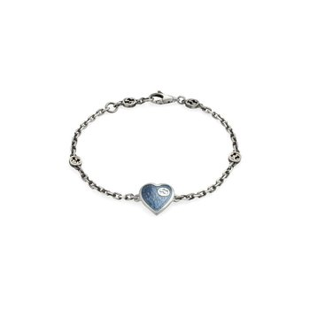 Bracelet with Interlocking G Light Blue Enamel Heart