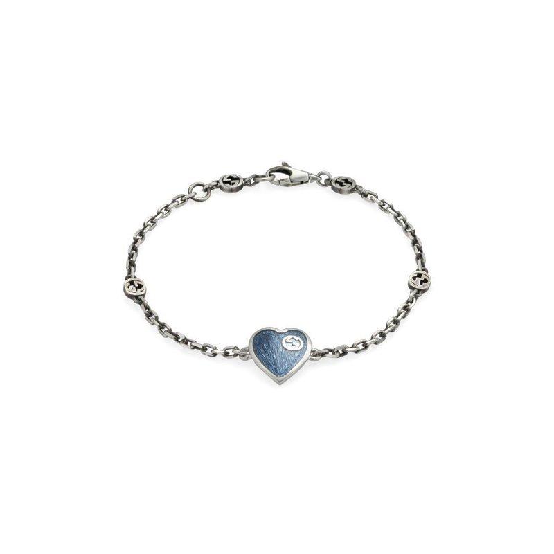 Gucci Bracelet with Interlocking G Light Blue Enamel Heart