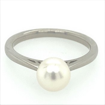 7mm Cultured Pearl Solitaire Ring