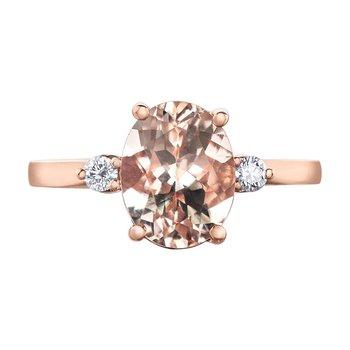 Ladies Morganite & Canadian Diamond Ring