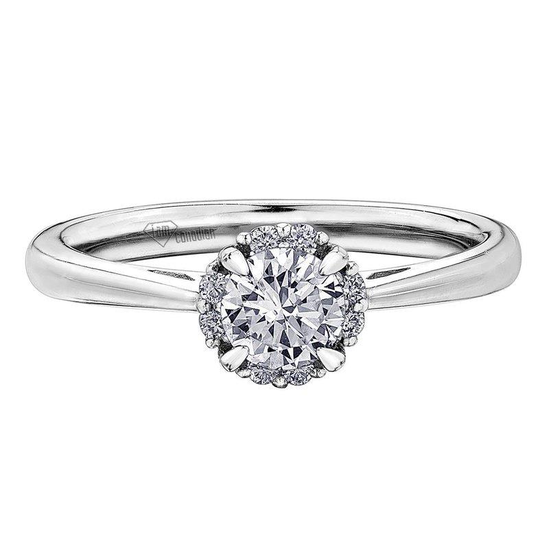 I Am Canadian 14K White Gold Classic Halo Diamond Engagement Ring