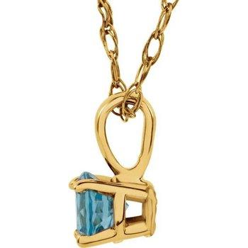 Childrens Necklace, Imitation Blue Zircon for December