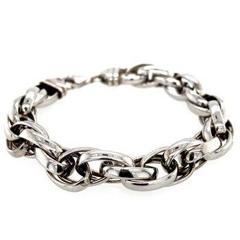 Silver Twisted Open Link Bracelet