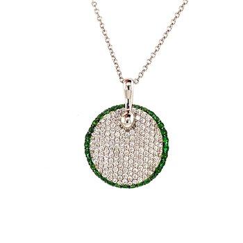 Diamond & Green Garnet Necklace