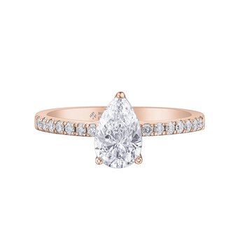 14Kt Rose Gold Pear Shape Engagement Ring With Accent Diamonds