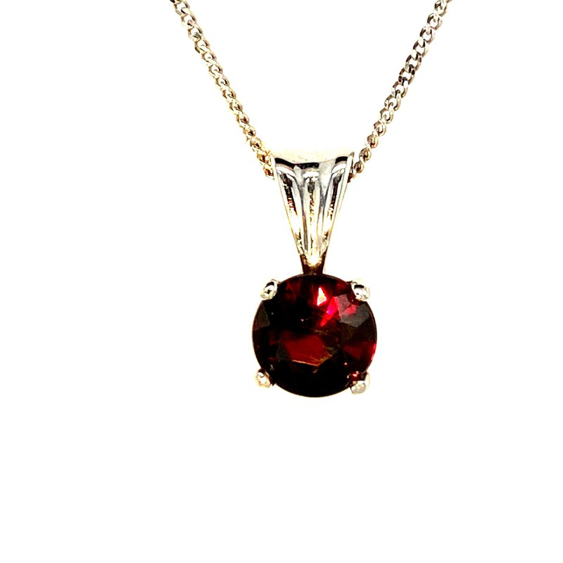 Ashley Garnet Solitaire Necklace