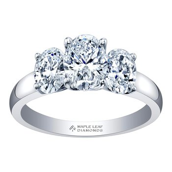 Three-Stone Oval Engagement Ring