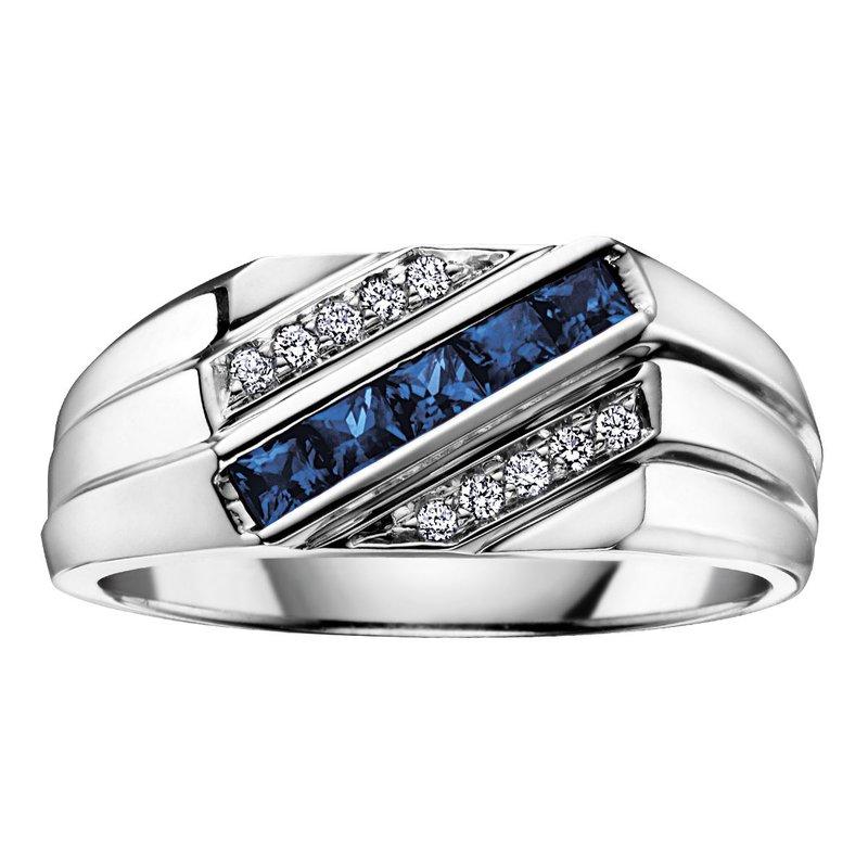 Ashley Men's Sapphire & Diamond Ring