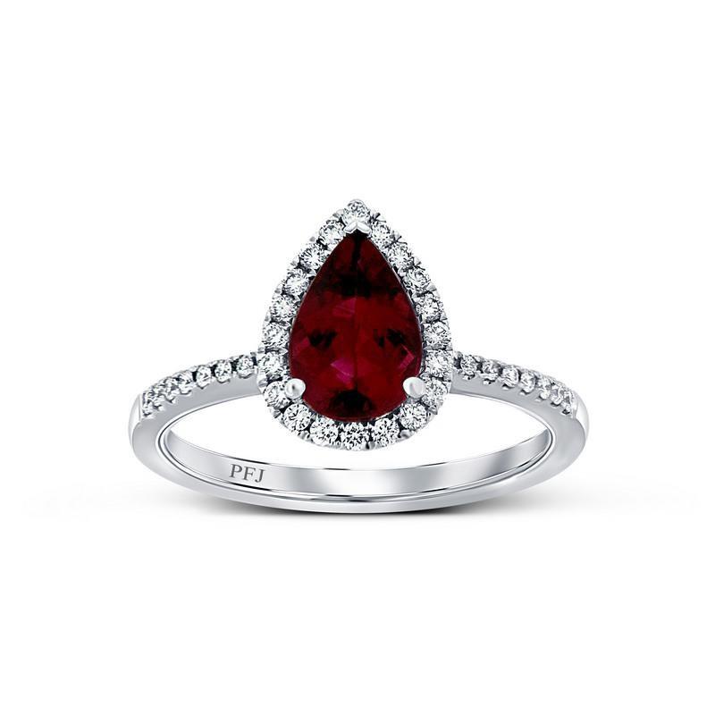 Ashley Fine Rubellite & Diamond Ring.