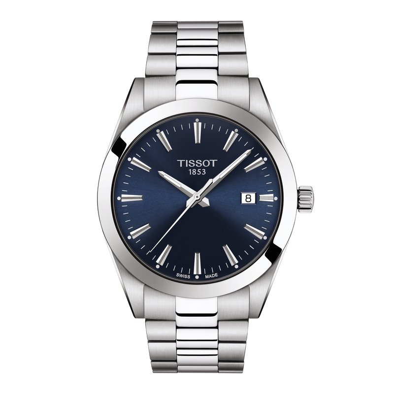 Tissot T127.410.11.041.00  TISSOT GENTLEMAN POLISHED AND SATINATED HOUR MARKERS Ultra-thin second hand for precision Hour and minutes hands Date window Fold over steel clasp with safety push-buttons