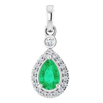Emerald & Diamond Halo Necklace
