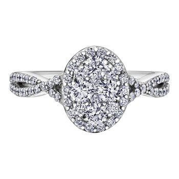 Halo Cluster Oval Shaped Diamond Engagement Ring