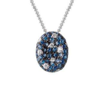 Multi Colour Blue Topaz & Diamond Necklace