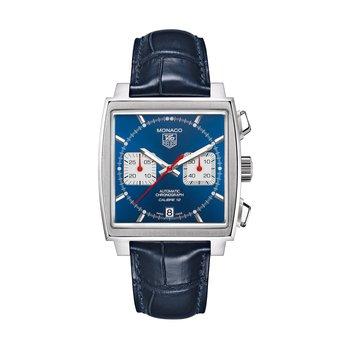 Monaco Calibre 12 Automatic Square Chronograph 39mm Steel case, blue dial, blue alligator strap