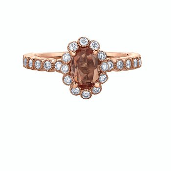 Imperial Precious Topaz & Diamond Halo Ring