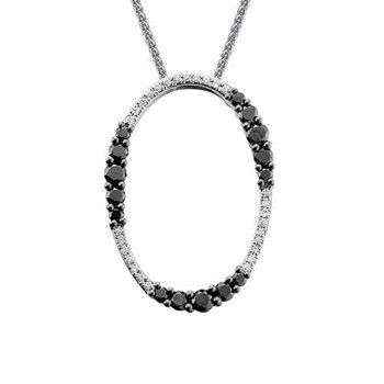 Oval Black & White Diamond Necklace
