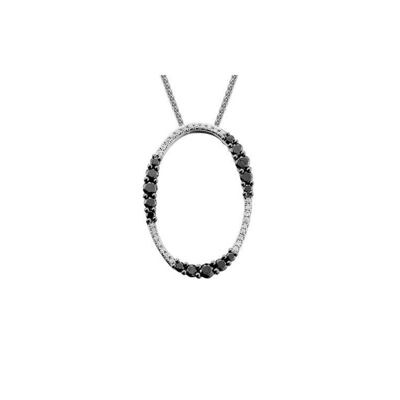 Ashley Oval Black & White Diamond Necklace