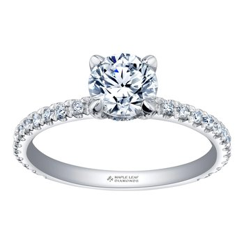 14k White Gold Round Pavé Diamond Engagement Ring