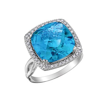 Ladies Blue Topaz and Diamond Ring
