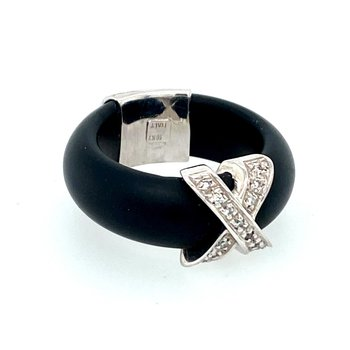 Black Rubber & Diamond Ring