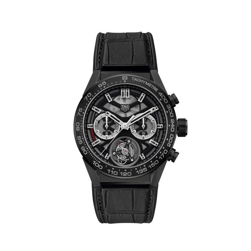 TAG Heuer Carrera Heuer 02 tourbillon automatic chronograph 45mm Black ceramic case and bezel, black alligator strap