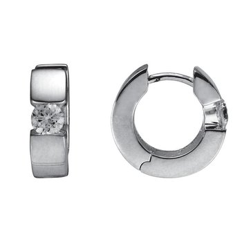 Silver Huggie Cubic Zirconia Earrings